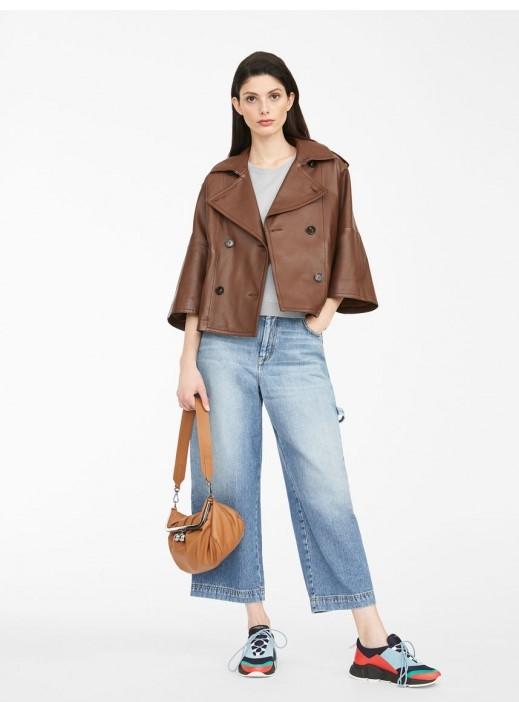Jachetă din piele naturală, foarte moale la purtare, cu mâneci kimono din colecția Max Mara Weekend