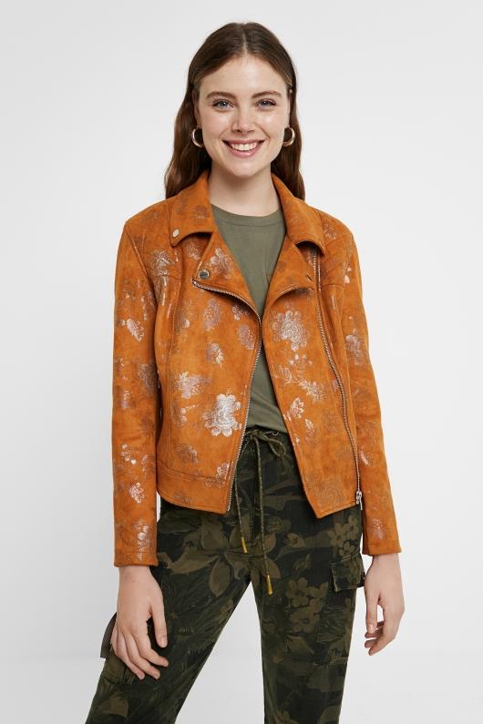 Jacheta oranj cu print floral Desigual