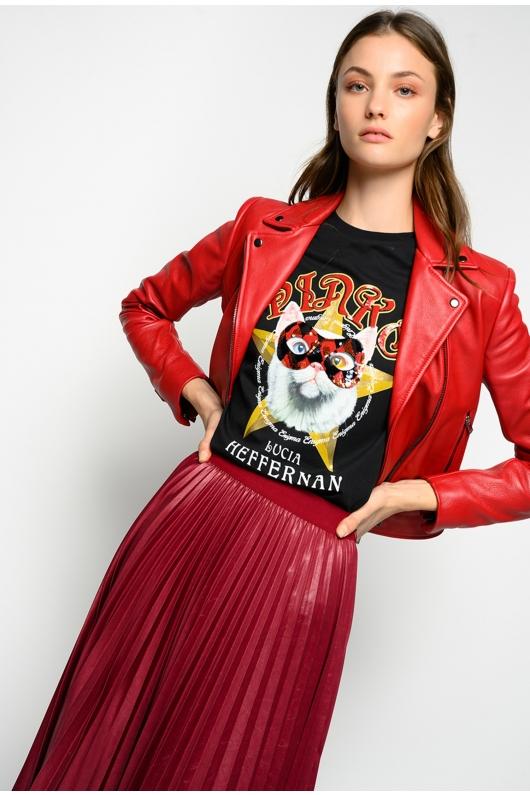 Jacheta rosie din piele tip biker
