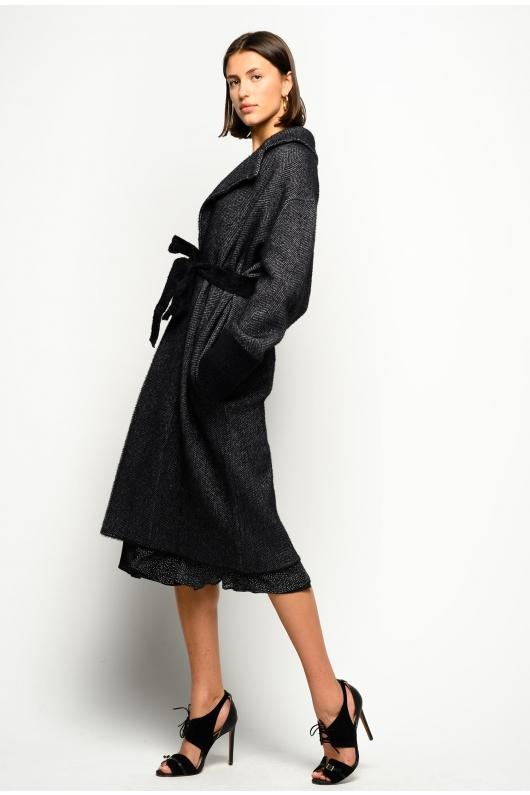 Palton elegant gri, cu cordon in talie Pinko