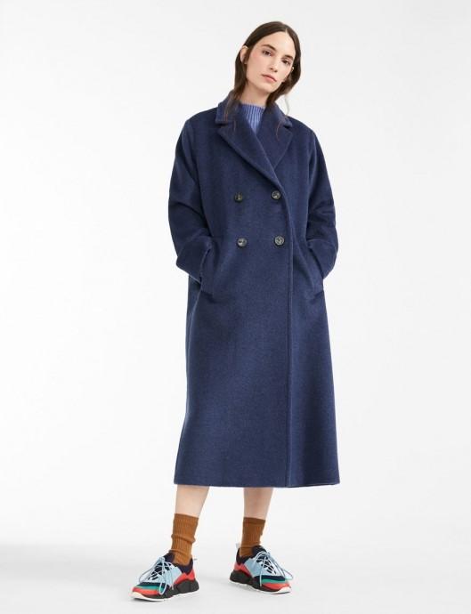 Palton lung albastru de dama, oversized Pinko
