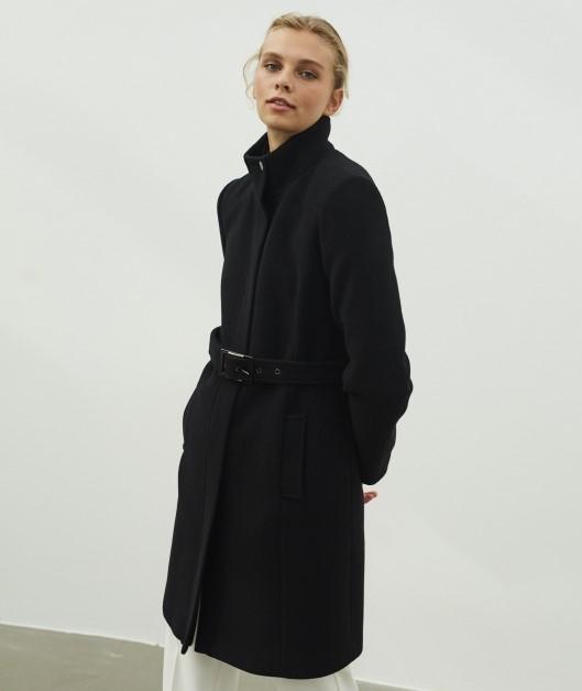 Palton negru gros de dama cu curea in talie Ipekyol