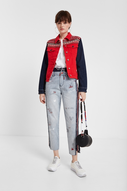 Jacheta denim multicoloră, din colecția Desigual