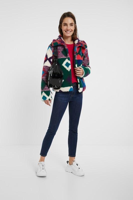 Jacheta multicolora din blana Desigual