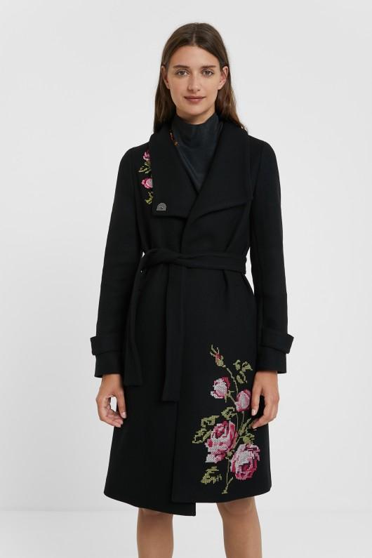 Palton cu broderie florală, din colecția Desigual