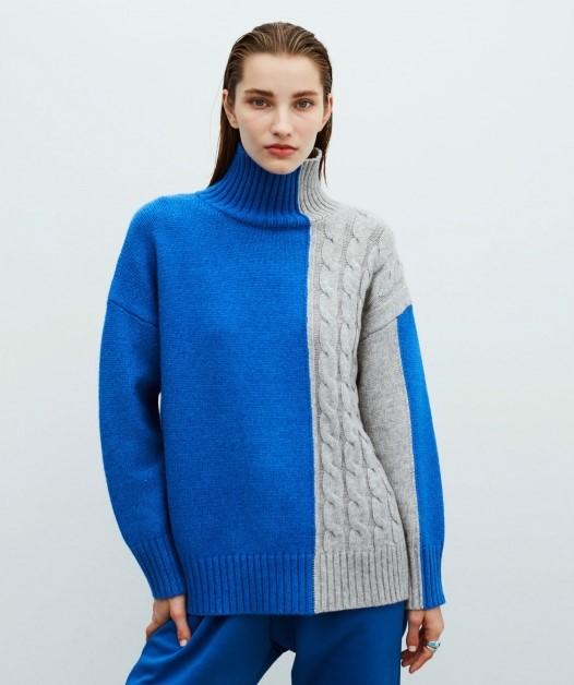 Pulover albastru cu gri cu efect color-block de la Ipekyol