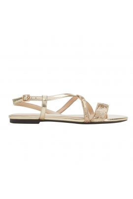 Sandale Glitter aurii cu talpa joasa