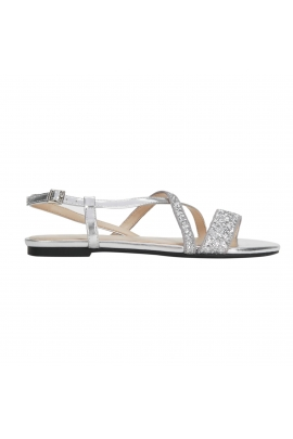 Sandale Glitter Argintii cu talpa joasa