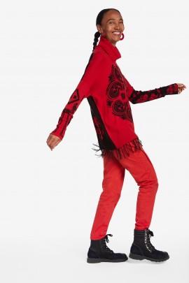 Pulover pe gat rosu cu negru