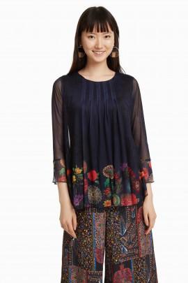 Bluza neagra cu print floral