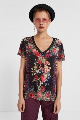 Tricou floral cu decolteu in V