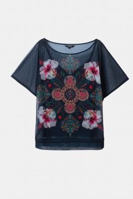Tricou cu plasa si print floral