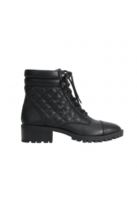 Flat Heel Ankle Boots MILITARY negre