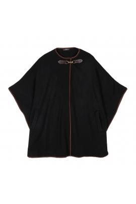 Poncho negru cu buzunare laterale