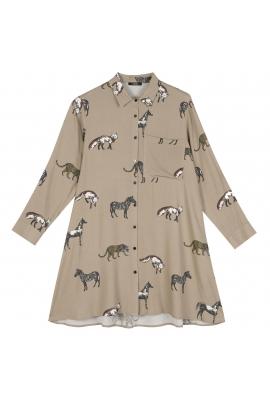 Rochie cu print vulpe bej