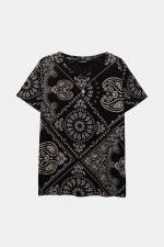 Tricou alb cu negru