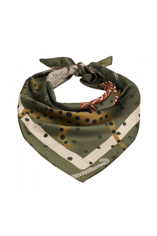 Square Scarf Contrast Total Look  Green S