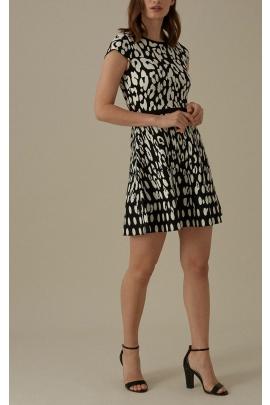 Rochie cu imprimeu alb negru
