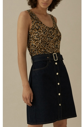 Top fara maneci cu print leopard
