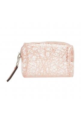 Geanta portfard pentru cosmetice, transparent cu model roz