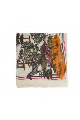 Printed Scarf African Landscape Ecru M