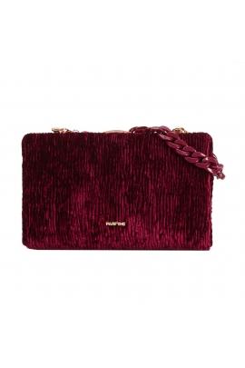 Hand Bag VELOUR Burgundy M