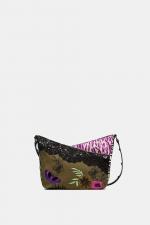 Geanta mini, kaki si cu printuri hippie