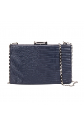 Geanta box bag, tip crossbody, navy cu lant argintiu lung