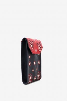 Geanta portofel cu barete detasabile, rosu cu negru