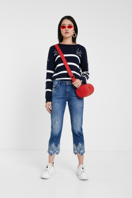 DENIM STRAIGHT CROPPED CU BRODERIE LA BAZA