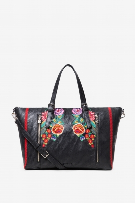Geanta shopper neagra cu broderii florale, de mana/umar