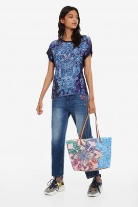 Geanta shopper, de mana/umar, bleu cu print mexican