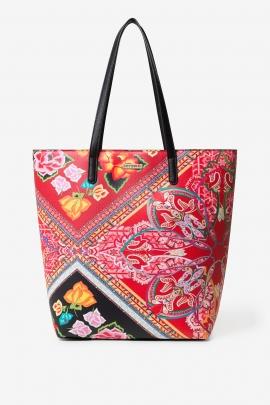 Geanta shopper, mare, cu imprimeu multicolor boho