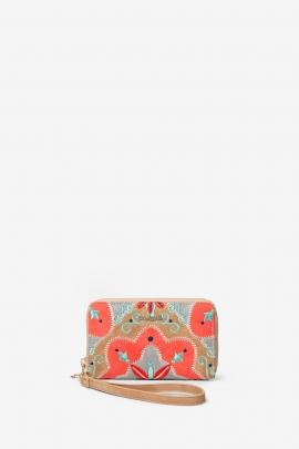 Geanta clutch de mana, print hippie, roz cu bej