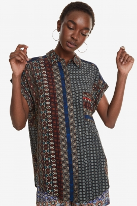 Africa Print Short-Sleeved Dress - Azhar | Desigual