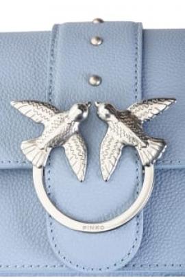 Geanta clutch tip plic, din piele bleu si lant argintiu