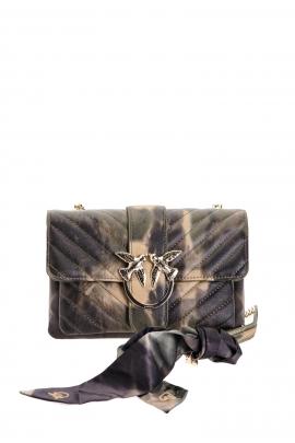Geanta clutch tip plic, din piele matlasata, negru cu maro