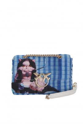 Geanta clutch tip plic, matlasata, albastra cu pisica