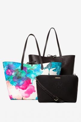 Geanta Shopper 3 in 1, reversibila, cu geanta postas