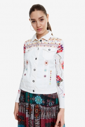 White Knit and Denim Jacket - Carrie | Desigual
