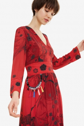 Long Red Floral Dress - Clam | Desigual