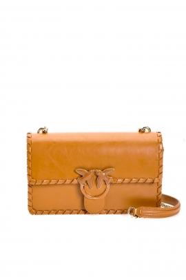 Geanta clutch tip plic, din piele maro, elegant