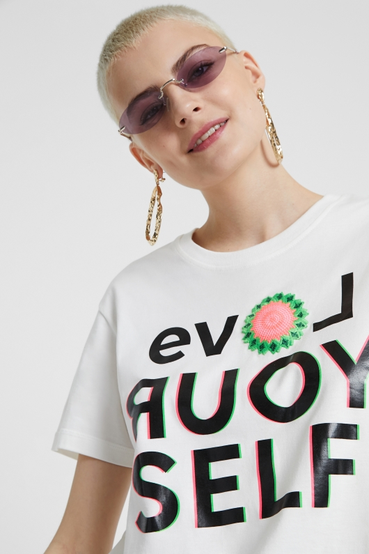 TRICOU DAMA LOVE YOUR SELF | DESIGUAL