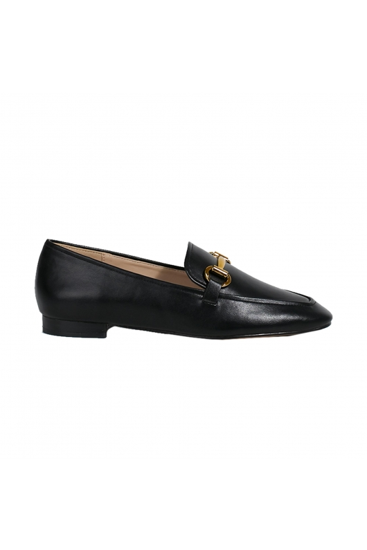Shoes Moccasin with Ornament  Black