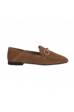 Flat Heel Shoes Mocassin Leather Taupe