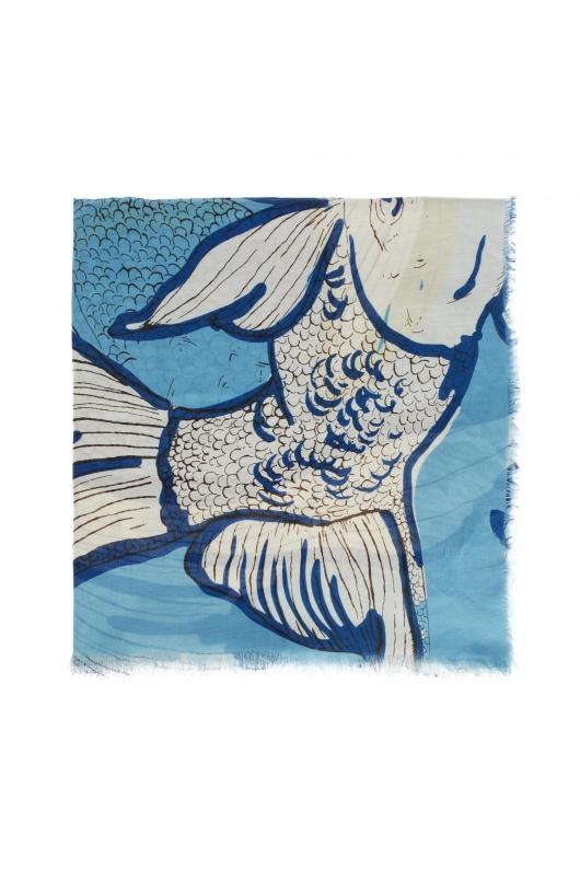 Printed Scarf SEA BREEZE Blue M