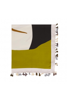 Square Scarf Stones Total Look Green M