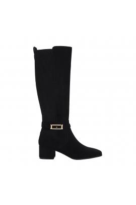 Medium Heel Boots Buckle High Boot Black