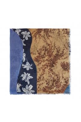 Printed Scarf BLOOM Blue M