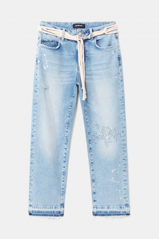 JEANS CROPPED CU BRODERIE